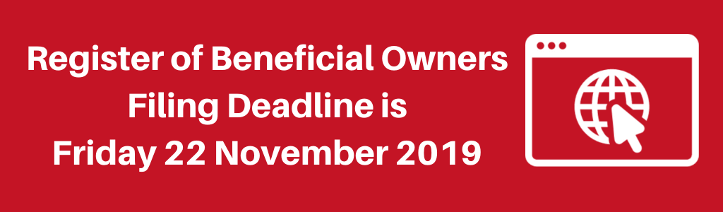 Register of Beneficial Owners Filing Deadline is Friday 22 November 2019