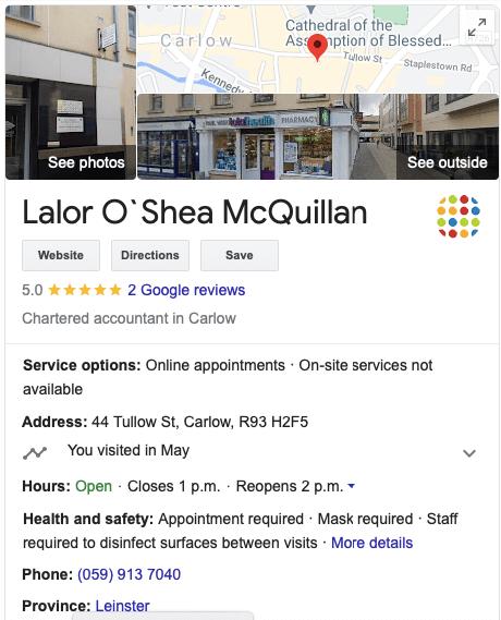 Lalor O'Shea McQuillan Google My Business Carlow