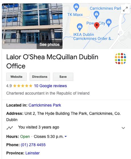 Lalor O'Shea McQuillan Google My Business Dublin